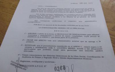 A.P.O.S. puso en vigencia el protocolo de atención de 1º Nivel (Archivo adjunto)